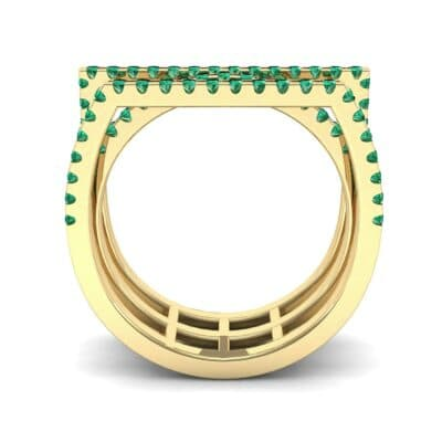 Three Row Geometry Emerald Ring (0.73 CTW) Side View