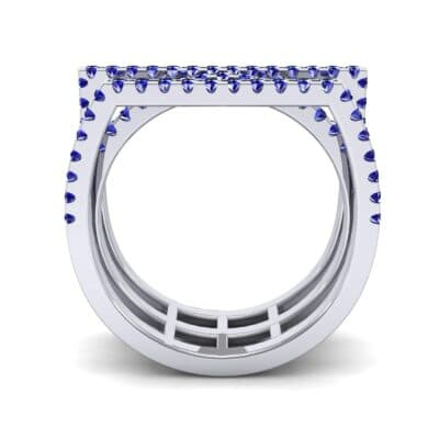 Three Row Geometry Blue Sapphire Ring (0.73 CTW) Side View