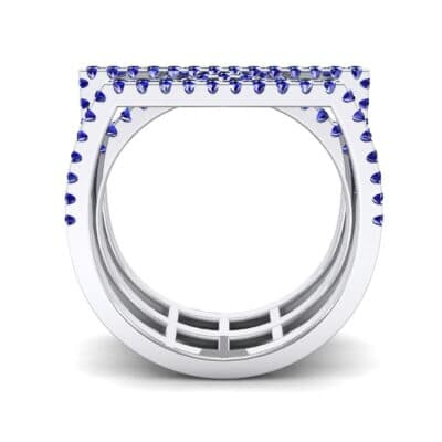 Three Row Geometry Blue Sapphire Ring (0.73 CTW) Side View