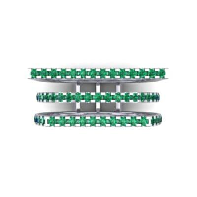 Three Row Geometry Emerald Ring (0.73 CTW) Top Flat View