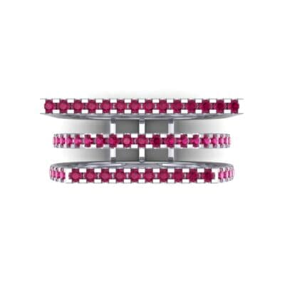 Three Row Geometry Ruby Ring (0.73 CTW) Top Flat View