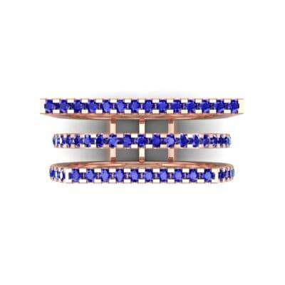 Three Row Geometry Blue Sapphire Ring (0.73 CTW) Top Flat View