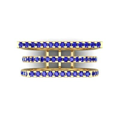 Three Row Geometry Blue Sapphire Ring (0.73 CTW) Top Flat View