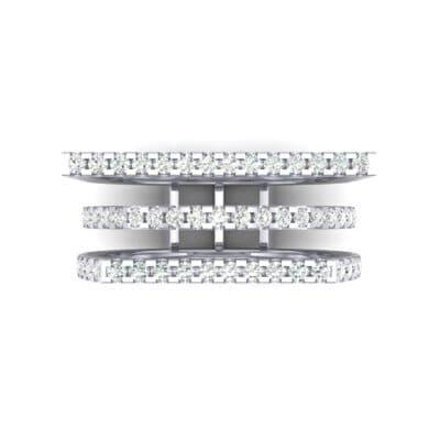 Three Row Geometry Diamond Ring (0.73 CTW) Top Flat View