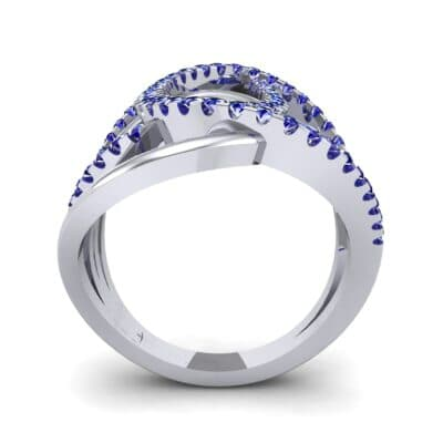 Pave Perpetua Blue Sapphire Ring (0.69 CTW) Side View