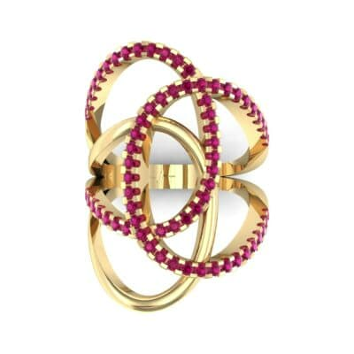 Pave Perpetua Ruby Ring (0.69 CTW) Top Flat View