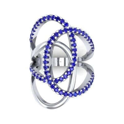 Pave Perpetua Blue Sapphire Ring (0.69 CTW) Top Flat View