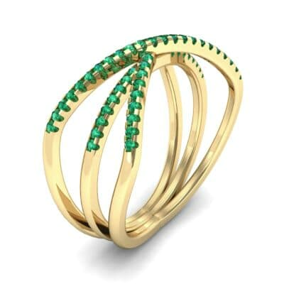Three Row Crossover Emerald Ring (0.29 CTW) Perspective View