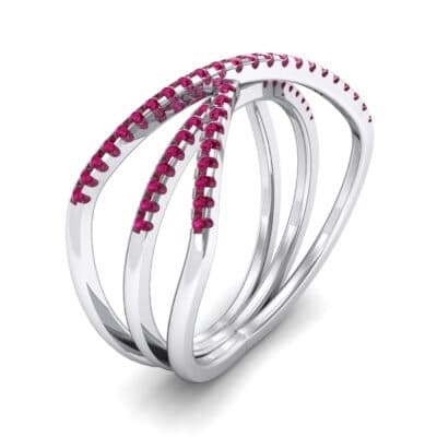 Three Row Crossover Ruby Ring (0.29 CTW)