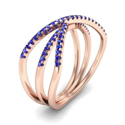 Three Row Crossover Blue Sapphire Ring (0.29 CTW) Perspective View