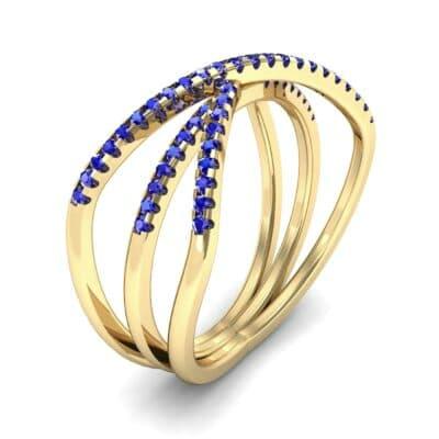 Three Row Crossover Blue Sapphire Ring (0.29 CTW)