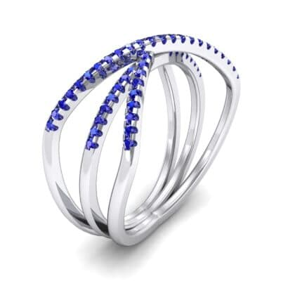 Three Row Crossover Blue Sapphire Ring (0.29 CTW)