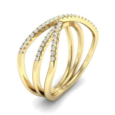 Three Row Crossover Diamond Ring (0.29 CTW)