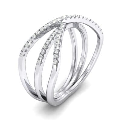 Three Row Crossover Diamond Ring (0.29 CTW) Perspective View