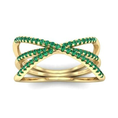 Three Row Crossover Emerald Ring (0.29 CTW) Top Dynamic View