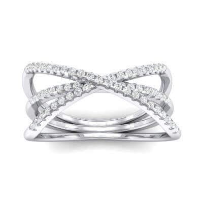 Three Row Crossover Diamond Ring (0.29 CTW) Top Dynamic View