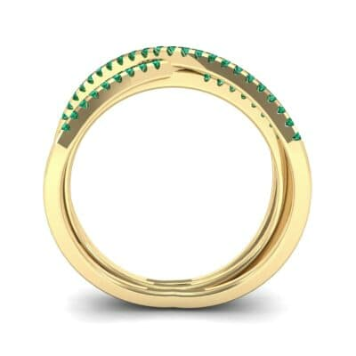 Three Row Crossover Emerald Ring (0.29 CTW) Side View