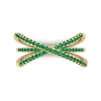 Three Row Crossover Emerald Ring (0.29 CTW) Top Flat View