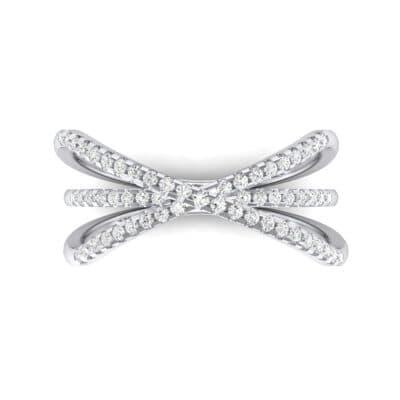 Three Row Crossover Diamond Ring (0.29 CTW) Top Flat View