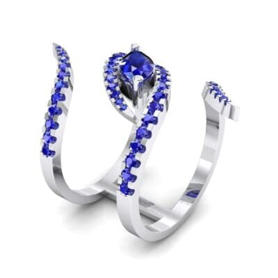 Wisp Double Band Blue Sapphire Ring (1.14 CTW)