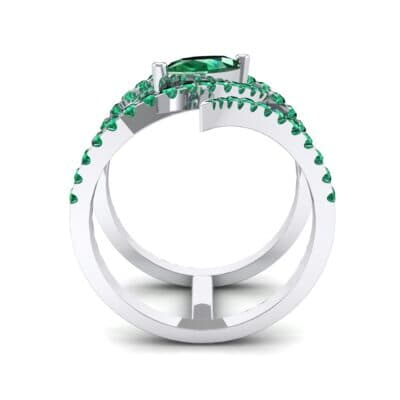 Wisp Double Band Emerald Ring (1.14 CTW) Side View
