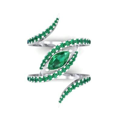Wisp Double Band Emerald Ring (1.14 CTW) Top Flat View