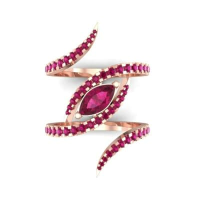 Wisp Double Band Ruby Ring (1.14 CTW) Top Flat View