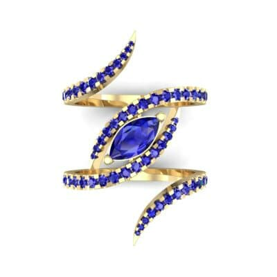 Wisp Double Band Blue Sapphire Ring (1.14 CTW) Top Flat View