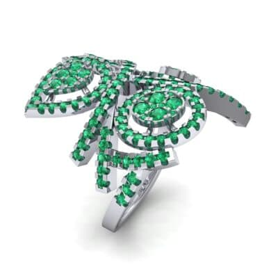Pave Peacock Emerald Ring (1.32 CTW)