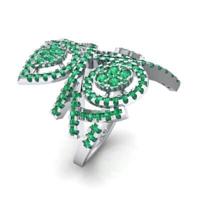 Pave Peacock Emerald Ring (1.32 CTW) Perspective View