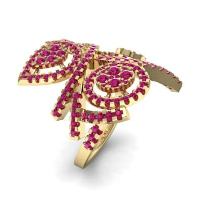 Pave Peacock Ruby Ring (1.32 CTW)