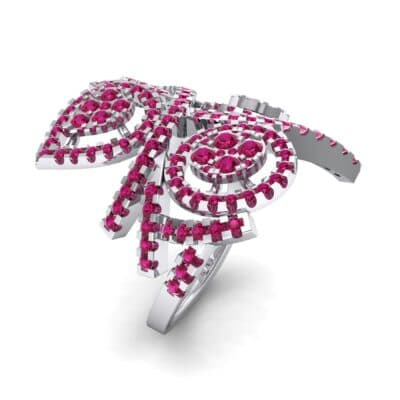 Pave Peacock Ruby Ring (1.32 CTW) Perspective View