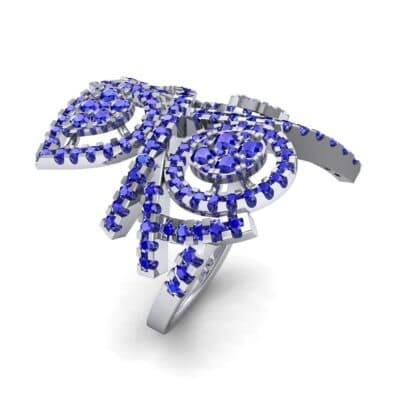 Pave Peacock Blue Sapphire Ring (1.32 CTW) Perspective View