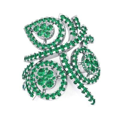 Pave Peacock Emerald Ring (1.32 CTW) Top Dynamic View
