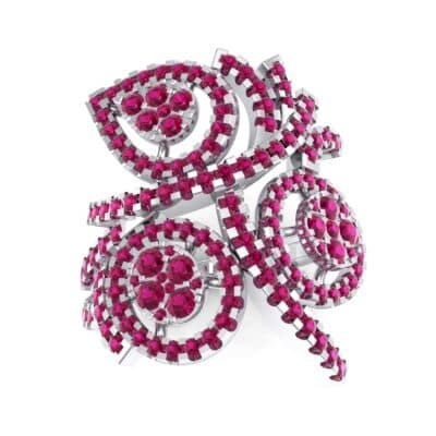Pave Peacock Ruby Ring (1.32 CTW) Top Dynamic View