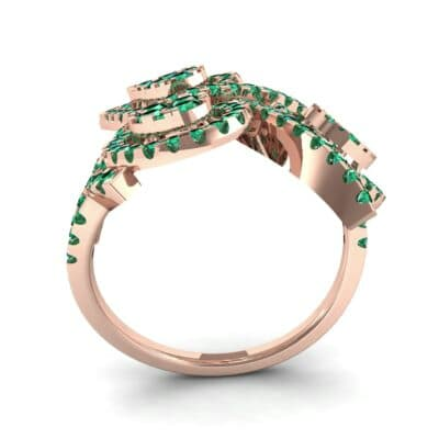Pave Peacock Emerald Ring (1.32 CTW) Side View