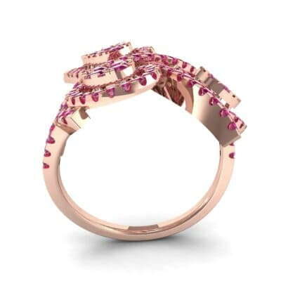 Pave Peacock Ruby Ring (1.32 CTW) Side View