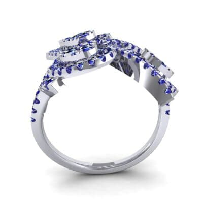 Pave Peacock Blue Sapphire Ring (1.32 CTW) Side View