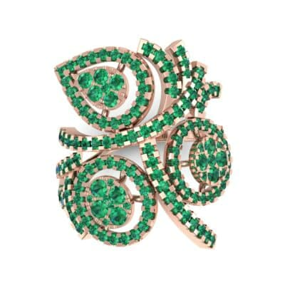 Pave Peacock Emerald Ring (1.32 CTW) Top Flat View