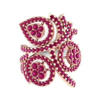 Pave Peacock Ruby Ring (1.32 CTW) Top Flat View