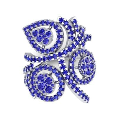 Pave Peacock Blue Sapphire Ring (1.32 CTW) Top Flat View