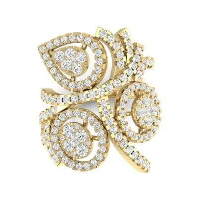 Pave Peacock Diamond Ring (1.32 CTW) Top Flat View