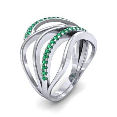 Pave Quintain Emerald Ring (0.27 CTW)