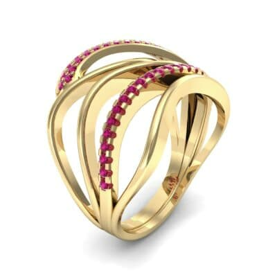 Pave Quintain Ruby Ring (0.27 CTW)