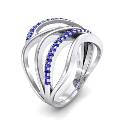 Pave Quintain Blue Sapphire Ring (0.27 CTW)