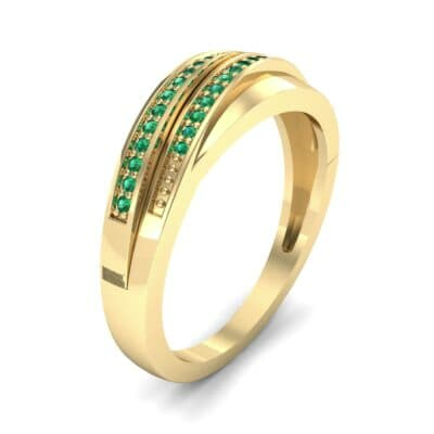 Off-Center Two-Row Pave Emerald Ring (0.14 CTW)