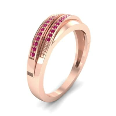 Off-Center Two-Row Pave Ruby Ring (0.14 CTW)