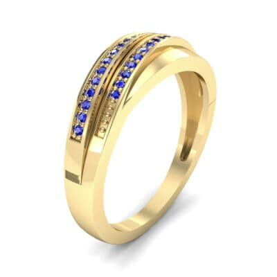 Off-Center Two-Row Pave Blue Sapphire Ring (0.14 CTW)