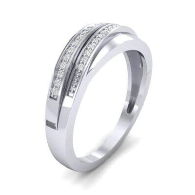 Off-Center Two-Row Pave Diamond Ring (0.14 CTW)