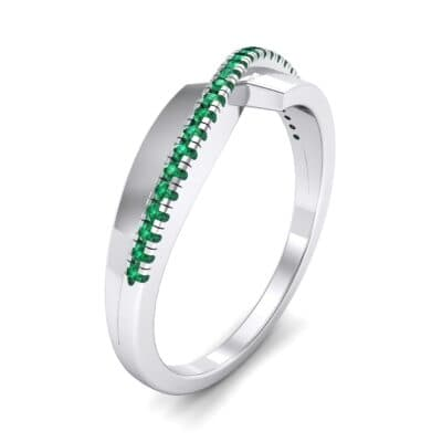 Curved Pave Blade Emerald Ring (0.13 CTW)